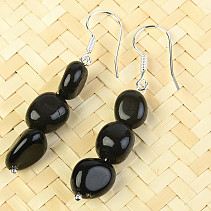 Obsidian rainbow earrings troml Ag hooks