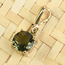 Gold pendant with round moldavite 7mm checker top brus Au 585/1000 14K 1.16g
