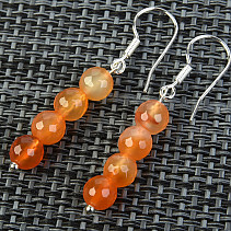 Carnelian earrings cut balls 6mm Ag hooks
