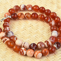 Agate fiery cut necklace of balls 10mm 48cm