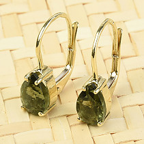 Gold earrings with moldavite drop of standard brush Au 585/1000 14K 2,04g