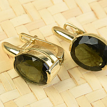 Gold earrings moldavite oval standard grind Au 585/1000 14K 5.44g