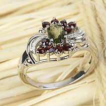 Moldavite ring with oval garnets 6 x 4mm standard Ag 925/1000 + Rh