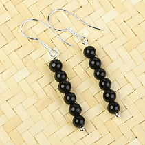 Turmaline Black Earrings 4mm Ag 925/1000
