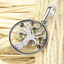 Moldavite and garnets pendant tree of life Ag 925/1000 + Rh