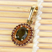 Moldavite and garnet pendant oval gold Au 585/1000 2.75g