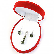Gift set of jewelery with moldavite and garnet hearts standard Ag 925/1000 + Rh