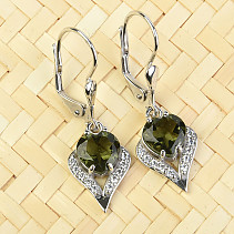 Moldavite and zircons heart earrings 7 x 7 mm standard Ag 925/1000 + Rh