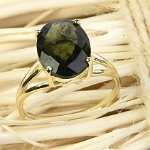 Gold ring of moldavite oval checker top brus vel.53 14K Au 585/1000 3.06g