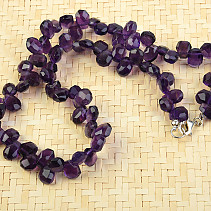 Amethyst necklace 45cm drops 11mm