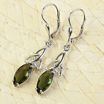 Moldavite earrings intertwined with Ag 925/1000 + Rh standard