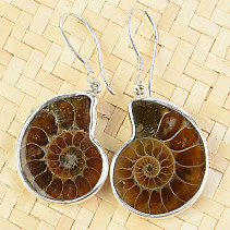 Ammonite earrings silver Ag 925/1000 7.9g