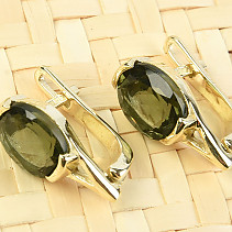 Moldavite earrings oval 10 x 7mm standard abrasive gold Au 585/1000 14K 3.63g