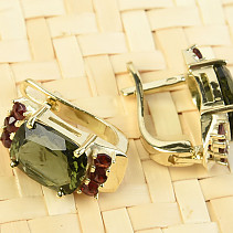 Moldavite a garnets earrings rectangle standard brus gold Au 585/1000 5.24g