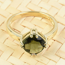 Gold ring moldavite checker top brus 14K Au 585/1000