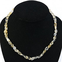 Citrine necklace with angular cuts 47cm Ag fastening