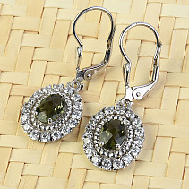 Moldavite and zircons earrings oval checker top brush Ag 925/1000 + Rh