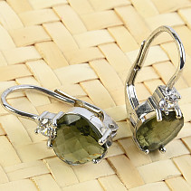 Moldavite and zircons heart earrings 8 x 8mm chcecker top brus Ag 925/1000 + Rh