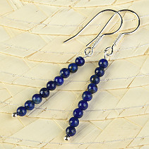 Earrings lapis lazuli mini balls 3mm Ag hooks