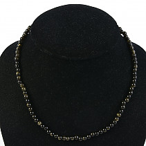 Obsidian silver necklace balls 5.5mm 45cm Ag fastening