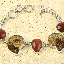 Amonite and carnelian bracelet 18 - 20cm Ag 925/1000 24.3g