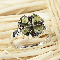 Moldavite and garnets ring flower 12mm standard cut Ag 925/1000 + Rh