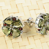 Flower earrings and garnets earrings flower pattern Ag 925/1000 + Rh