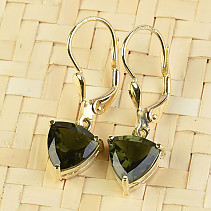 Gold earrings moldavite trigon 8 x 8mm standard brus 14K Au 585/1000 3.02g
