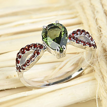 Moldavite and garnets ring drop 8 x 6 mm standard brush Ag 925/1000 + Rh