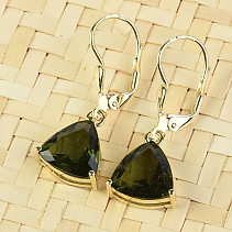 Gold earrings triangle moldavite 10 x 10mm standard cut 14K Au 585/1000 4.02g