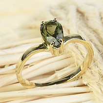 Moldavite ring drop 8 x 5mm standard brus vel.53 14K gold Au 585/1000 2.32g