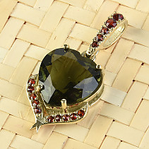 Moldavite and garnets pendant heart 12 x 12mm standard brus gold 14K Au 585/1000 3.18g