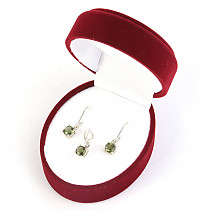 Jewelry gift set with moldavite 5mm checker top Ag 925/1000 + Rh