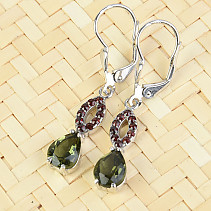Moldavite and garnets earrings drop 8 x 6 mm standard brush Ag 925/1000 + Rh