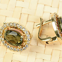 Gold earrings of moldavite and zircons oval 8 x 6mm standard brus 14K Au 585/1000 5.41g