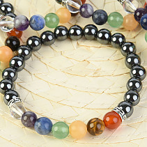 Bracelet hematite and chakra 8mm ball balls