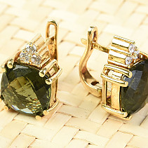 Gold earrings of moldavite and zircons square 10 x 10mm checker top brush 14K Au 585/1000 7.49g
