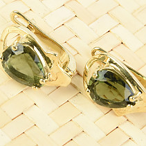 Gold earrings moldavity drop 9 x 7mm standard abrasive Au 585/1000 14K 4.86g