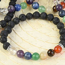 Bracelet lava stone and chakra stones ball 8mm