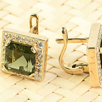 Gold earrings of moldavite and zircons square 8 x 8mm standard brus 14K Au 585/1000 7.32g