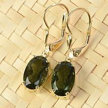 Gold earrings of moldavite oval 11 x 7mm standard brus 14K Au 585/1000 3.31g