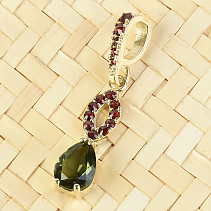 Moldavite and garnet pendant drop 8 x 6mm standard brus gold 14K 1.86g