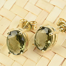 Gold earrings with moldavite oval 8x6mm standard cut Au 585/1000 14K 1.71g