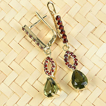 Moldavite and garnets earrings drop 8 x 6mm gold Au 585/1000 4.97g