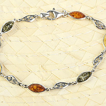 Decorated bracelet amber mix silver Ag 925/1000 18cm