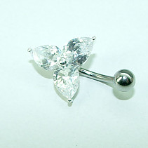 OPNG083 white shamrock belly button piercing