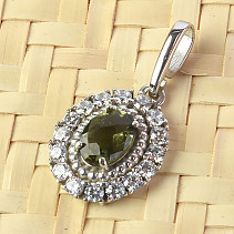 Moldavite oval pendant with zircons checker top Ag 925/1000 + Rh
