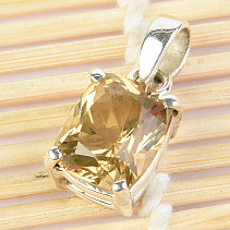 Citrine Pendant Rectangle Ag 925/1000 3.63g