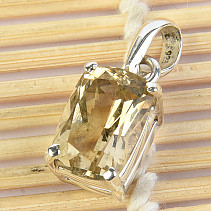 Citrine Pendant Rectangle Ag 925/1000 3.35g