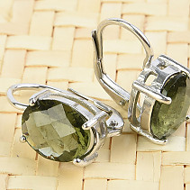 Moldavite earrings oval 10 x 8mm checker top Ag 925/1000 + Rh
